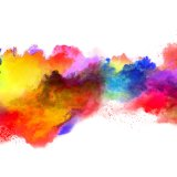 Explosion of colored powder, isolated on white background. Power and art concept, abstract blust of colors.